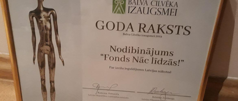 Fonds Nāc līdzās! saņem atzinības balvu par ieguldījumu Latvijas nākotnē