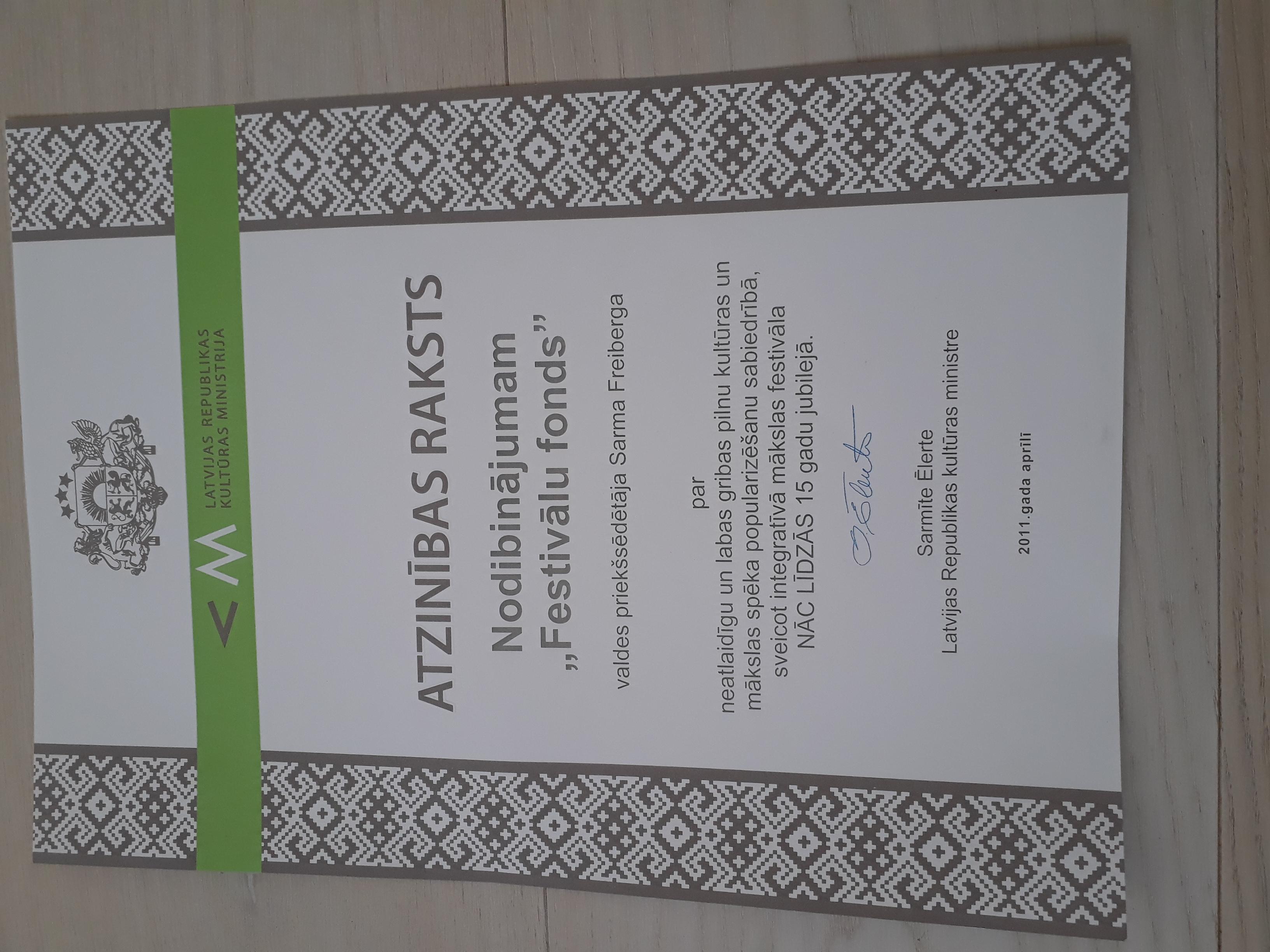 3 Kultūras ministrijas Atzinības raksts 2011